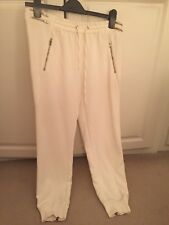 Zara Woman Medium Rise Relaxed Fit Zip Ankle Cuff Joggers Trousers Pants White M