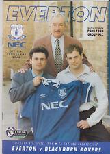 Programme / Programma Everton v Blackburn Rovers 04-04-1994