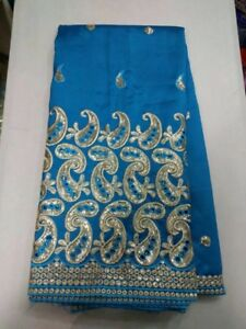 Blue Satin George Fabric with Silver Embroidery Design