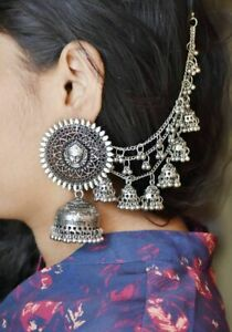 India Traditional Oxidized Bollywood Jewelry Maa Durga Top Earrings Chain Jhumka