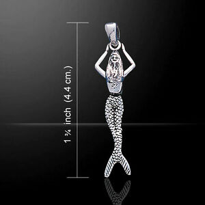 Mermaid Moveable .925 Sterling Silver Pendant by Peter Stone Jewelry