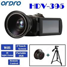 Ordro D395 HD 1080p WiFi Digital Camera 18x Zoom Night Vision Wide Lens Tripod