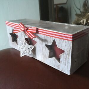 Set 3 Candles Scandi White Wood Holder Shabby Chic Star Votive Decor Gift NEW