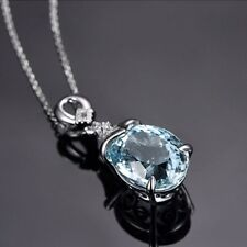 Oval Chain Women Natural GEMSTONE Pendant Jewelry Necklace Aquamarine