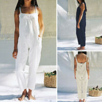 Women Beach Plus Size Cotton Jumpsuit Dungarees Playsuit Overalls Summer Trouser