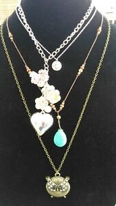 Necklace Lot Of 4 Justice Silver Heart Pink Flowers Pearl Cluster Owl Smile