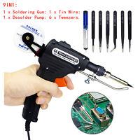 Auto Soldering Gun Kit 110V 60W with Desoldering Pump Soldering Wire&6 Tweezers