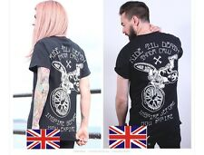Mens/Womens Skull With Rock Punk Motor Biker Print Cotton T Shirt S TS002-06S