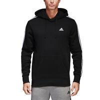 Adidas Men Pullover Hoodie Running 3 Stripes Training Black Essential BR3588 New