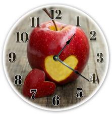 """12"""" Teacher Apple Heart Cut Out Clock - Large 12 inch Wall Clock - 2132"""