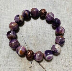 Amethyst and bronze beads Bracelet