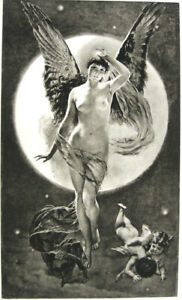 PRETTY NAKED NUDE WOMAN GIRL BREASTS WINGED NIGHT ANGEL ~ 1892 Art Print  RARE!