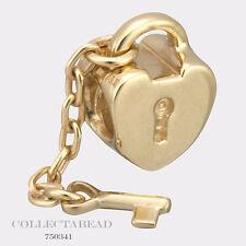 Authentic Pandora 14k Gold Key to My Heart Bead 750341