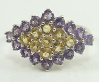 Sterling Silver Brilliant Round Cut Amethyst Yellow Topaz Cluster Ring Size 7
