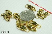 Silver Gold Plated 4x12mm Brass Lobster Parrot Clasp Hook Jumpring 10pcs LOT
