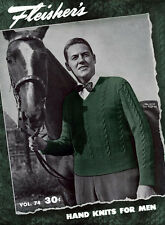 Fleisher's #74 c.1946 Hand Knitting Vintage Fashion Sweater Patterns for Men