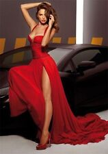 Red V Neck Long Formal Evening Dresses Mermaid Celebrity Party Prom Gowns Custom