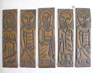 Hand Carved Brutalist Jesus Apostles Disciples One of a Kind Original Art Wear