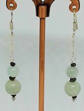 Genuine Jadeite & Black Diamond 925 solid sterling silver handmade earrings!