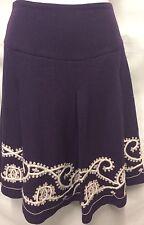 HAZEL Anthropologie Wool Boho Purple Embroidered Pleated Women's Skirt Sz 2