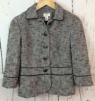 Ann Taylor LOFT Women's Clothing Black Tweed Blazer Jacket Work Career Size 6 P