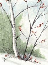 ACEO Landscape Snow Birch Trees ATC Mixed Media Painting ORIGINAL Art Goeben