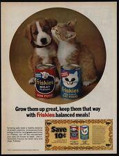 1971 Cute Puppy & Kitten Love FRISKIES Dog & Cat Food VINTAGE AD