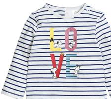 H&M Baby Girls T-Shirt Printed Striped Shiny Top White/Blue SZ 12-18 Months NWT