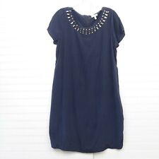 A Pea In The Pod Women's Size M 100% Silk Navy Blue Jewel Embellished Neck Dress