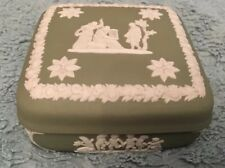 Wedgwood Sage Green Jasperware Lidded Square Trinket Box