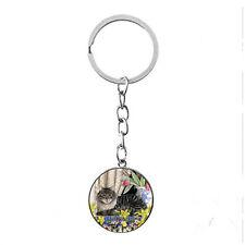 Vintage Glass photo Cabochon charm silver Matal Key ring(Tabby Kitty cat)