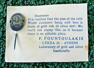 BOY SCOUTS 1963 11TH WORLD JAMBOREE, GREECE STERLING SILVER STICK PIN