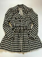 Vera Moda Nia 3/4 Jacket Coat With Belt XL AND S Black & White Houndstooth BNWT