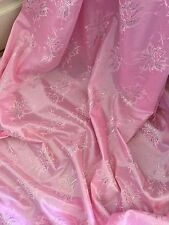 "1 MTR NEW PINK METALLIC LACE ON SATIN BRIDAL FABRIC...60"" WIDE £3.99"