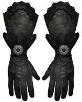 Punk Rave Mens Gothic Gloves Black Damask Steampunk Vampire Victorian Regency