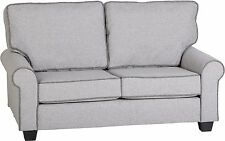 Pair of luxury Bailey 2 Seater Sofas in Light Grey, Dark Grey Piping 2 X SOFAS