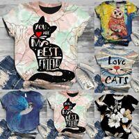 Women's Round Neck Short Sleeve 3D Printed T-Shirt Tee Tops Casual Blouse LIU9