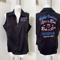 Harley Davidson Live To Ride Ride To Live Motorcycles Women's Black Top 2X