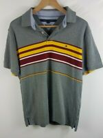 Mens Tommy Hilfiger Custom Muscle Fit Polo Shirt Large L Grey Short Sleeved