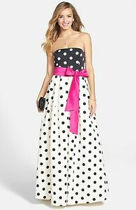 Eliza J Polka Dot Faille A-Line Gown Dress Size 6
