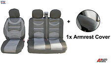 PREMIUM COMFORT PADDED FABRIC GREY SEAT & ARMREST COVERS FOR VW TRANSPORTER T5