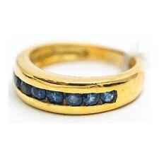 Bague Mineralife anneau en or jaune serti de saphirs