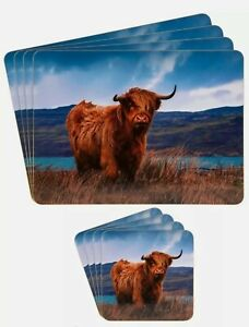 Leonardo Collection Set of 8 Cork Backed Placemats & Coasters Highland Cow