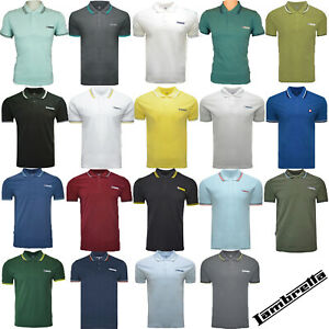Lambretta Polo Shirt Twin Tipped Collar Mens T-Shirt Soft Cotton SS1608 UK S-4XL