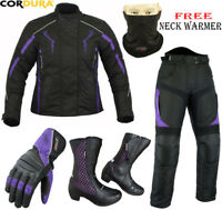 LADIES PURPLE HAWK WOMENS MOTORBIKE MOTORCYCLE JACKET TROUSERS BOOTS GLOVES SUIT