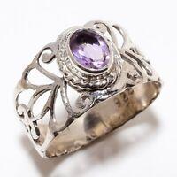 Amethyst Gemstone Handmade Ethinc Style 925 Sterling Silver Ring Size 6.5 R-52