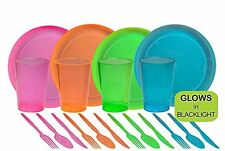 40 Pc Neon Assorted Party Supplies Neon Colors Hard Plastic Plates Cups Cutlery