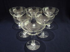 Vintage Crystal Glass Hollow Stem Champagne Glasses x 6