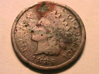 1886 Variety 2 Scarce Grungy Low Grade Indian Head Bronze Cent One Penny US Coin