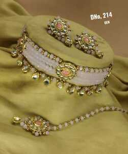 Indian Bollywood Gold Plated Fashion Pearl Bridal Choker Jewelry Necklace Set